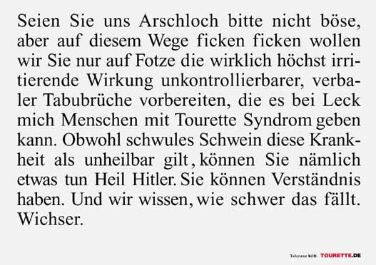 Werbepostkarte zum Tourette-Syndrom mit einem provokanten Text