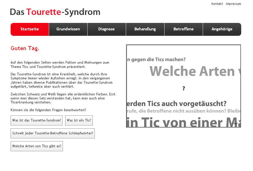 Bild der Startseite des Expertenrats zum Tourette-Syndrom
