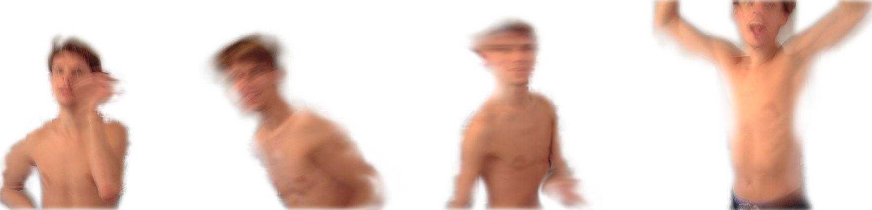 Mensch in Bewegung, teilweise verwischte Aufnahmen, während Tics des Tourette-Syndroms aufgenommen